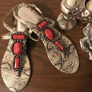 HENRY FERRERA snakeprint & coral gemstones sandals
